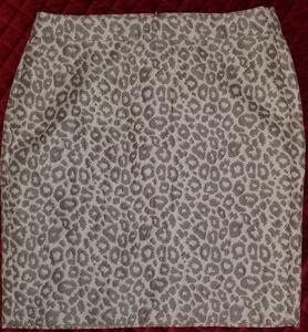 Banana Republic Cream/Taupe Print Skirt, Size 14